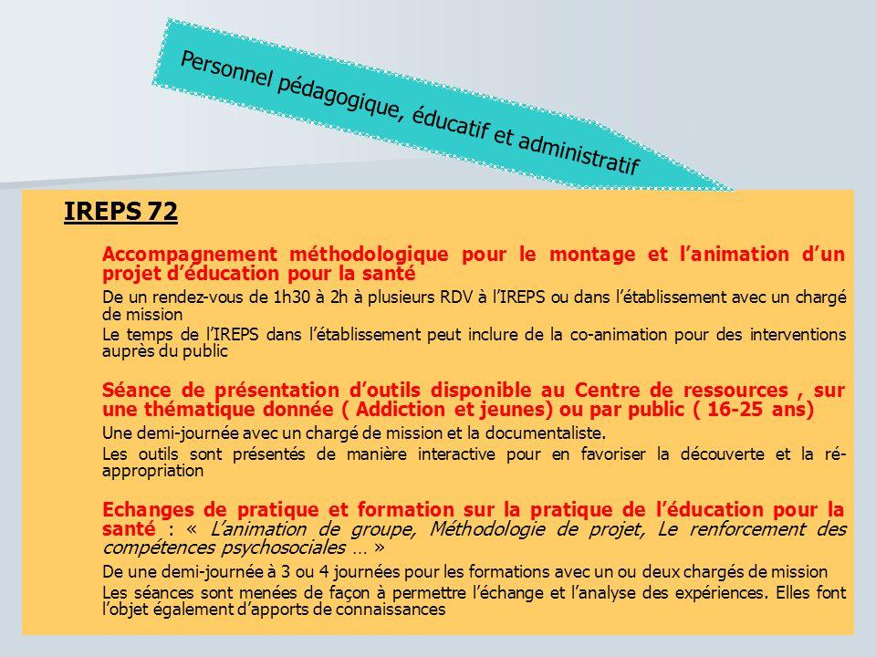 IREPS 72 Accompagnement méthodologique pour le montage et l'animation d'un projet d'éducation pour la santé De un rendez-vous de 1h30 à 2h à plusieurs