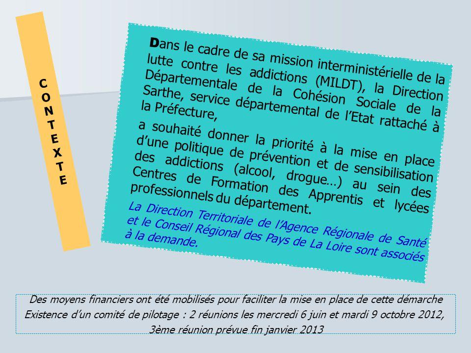 D ans le cadre de sa mission interministérielle de la lutte contre les addictions (MILDT), la Direction Départementale de la Cohésion Sociale de la Sa