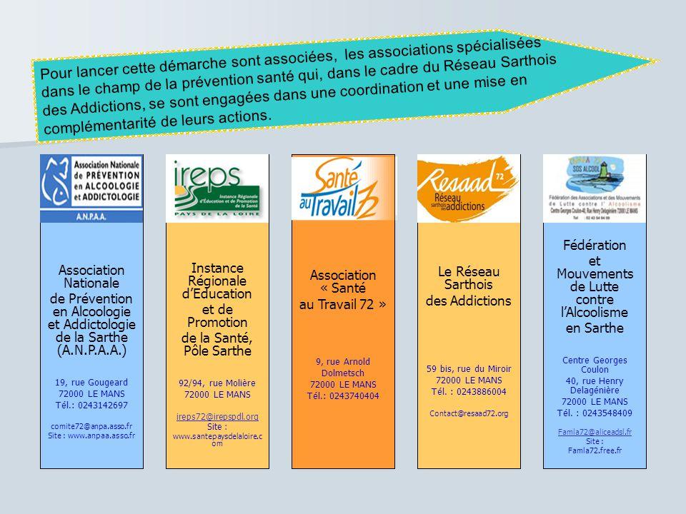 Association Nationale de Prévention en Alcoologie et Addictologie de la Sarthe (A.N.P.A.A.) Instance Régionale d'Education et de Promotion de la Santé