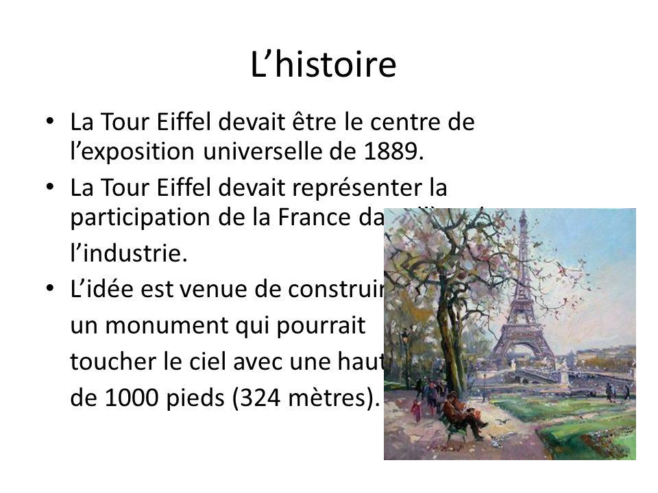 L'histoire La Tour Eiffel devait être le centre de l'exposition universelle de 1889. La Tour Eiffel devait représenter la participation de la France d