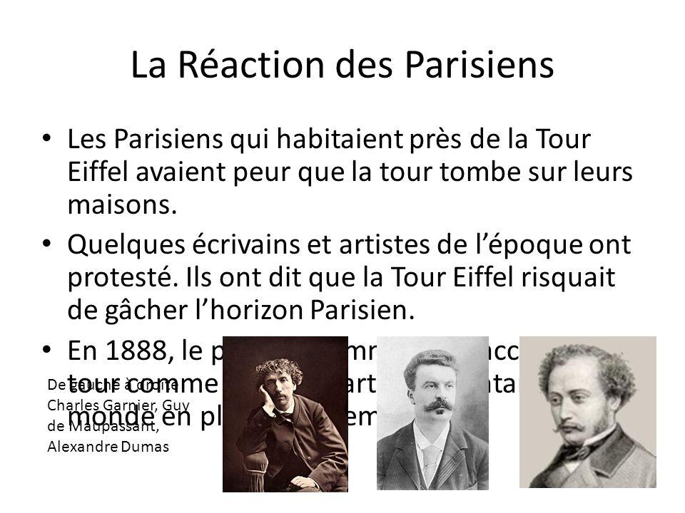 La Réaction des Parisiens Les Parisiens qui habitaient près de la Tour Eiffel avaient peur que la tour tombe sur leurs maisons. Quelques écrivains et
