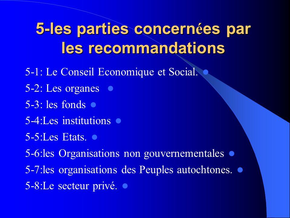 5-les parties concern é es par les recommandations 5-1: Le Conseil Economique et Social. 5-2: Les organes 5-3: les fonds 5-4:Les institutions 5-5:Les