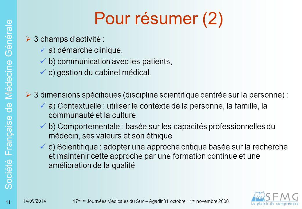 Société Française de Médecine Générale 14/09/2014 17 émes Journées Médicales du Sud – Agadir 31 octobre - 1 er novembre 2008 11  3 champs d'activité : a) démarche clinique, b) communication avec les patients, c) gestion du cabinet médical.