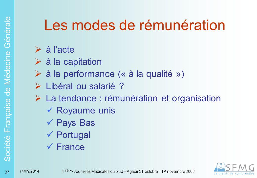Société Française de Médecine Générale 14/09/2014 17 émes Journées Médicales du Sud – Agadir 31 octobre - 1 er novembre 2008 37 Les modes de rémunération  à l'acte  à la capitation  à la performance (« à la qualité »)  Libéral ou salarié .