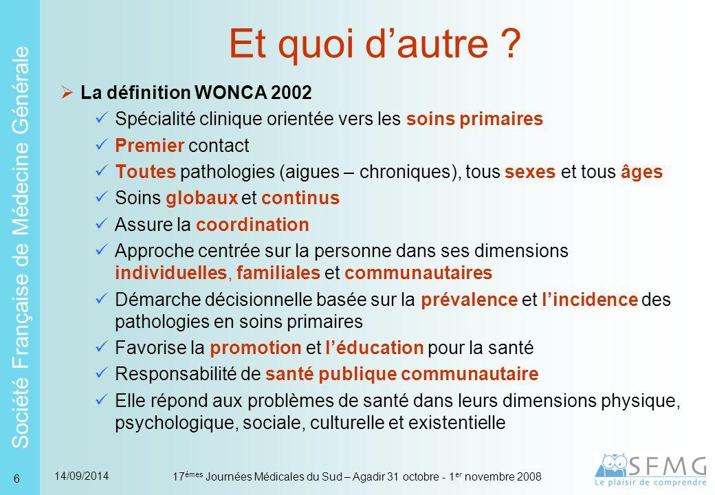 Société Française de Médecine Générale 14/09/2014 17 émes Journées Médicales du Sud – Agadir 31 octobre - 1 er novembre 2008 17 La situation française Reconnaissance  Universitaire  Politique  Sociale