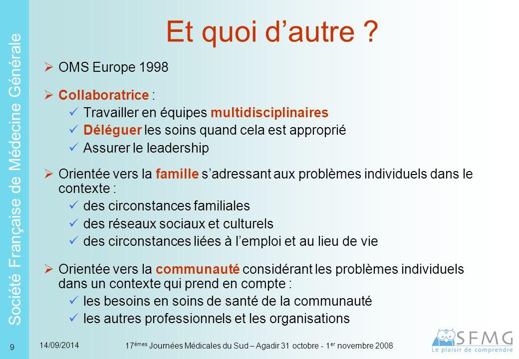 Société Française de Médecine Générale 14/09/2014 17 émes Journées Médicales du Sud – Agadir 31 octobre - 1 er novembre 2008 9 Et quoi d'autre .