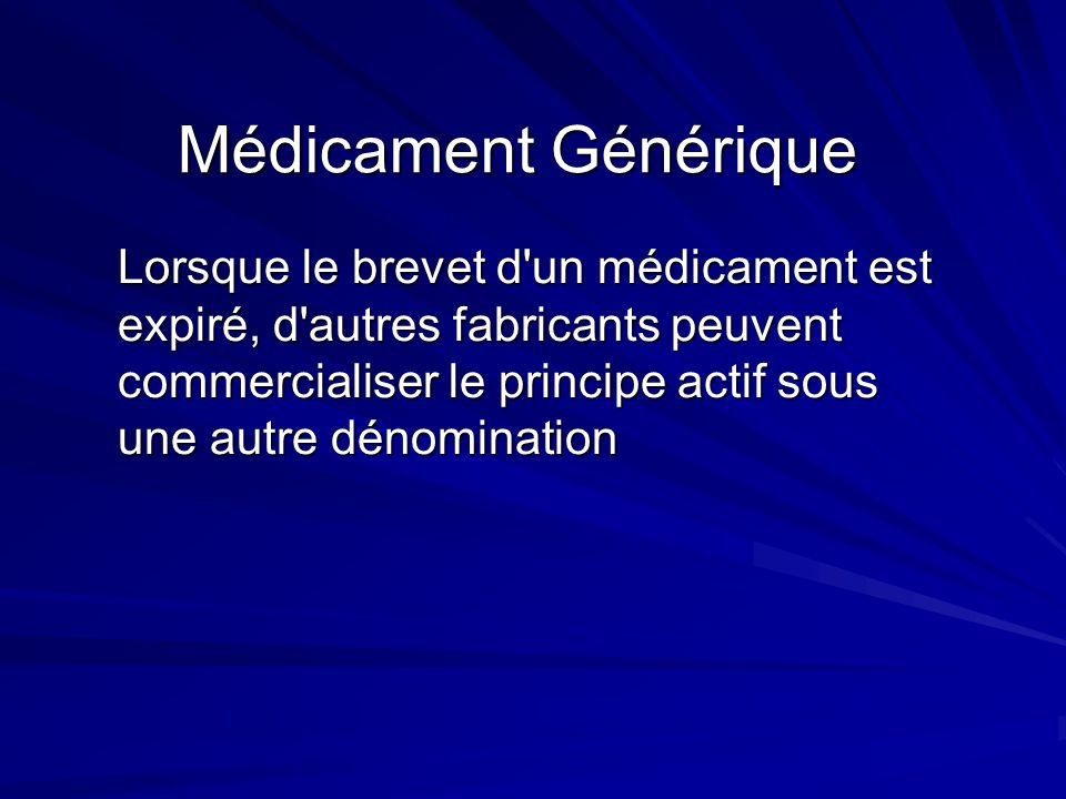 Médicament Générique Lorsque le brevet d'un médicament est expiré, d'autres fabricants peuvent commercialiser le principe actif sous une autre dénomin