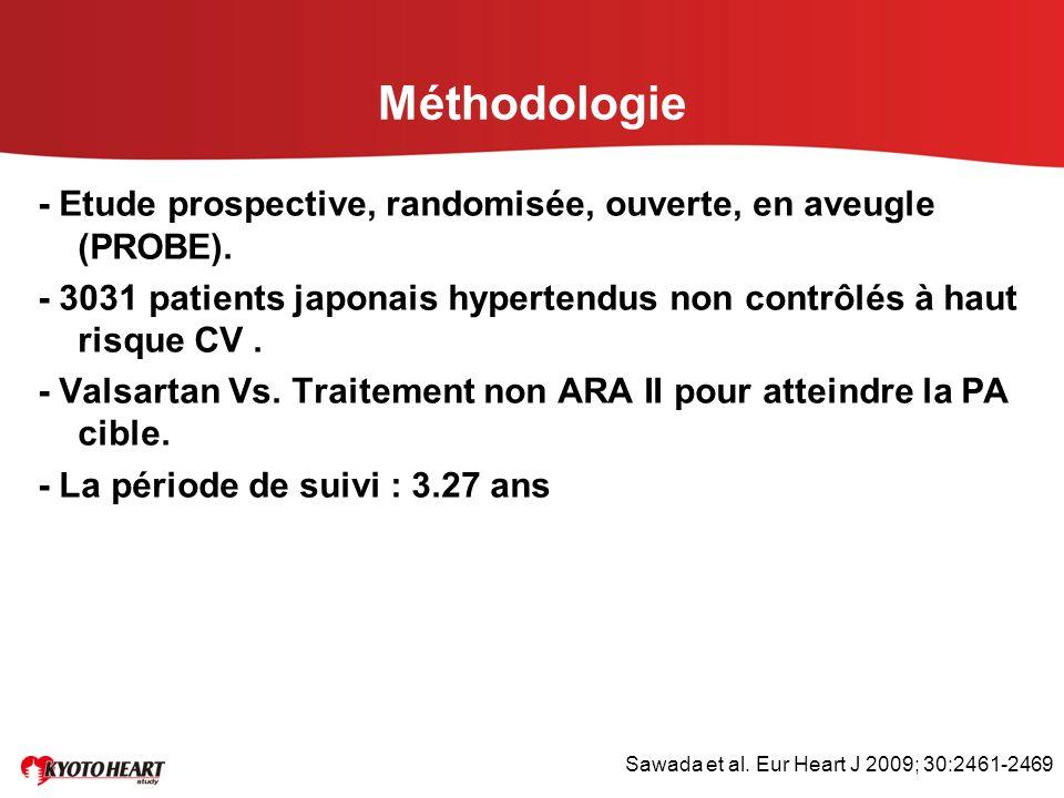 Méthodologie - Etude prospective, randomisée, ouverte, en aveugle (PROBE). - 3031 patients japonais hypertendus non contrôlés à haut risque CV. - Vals