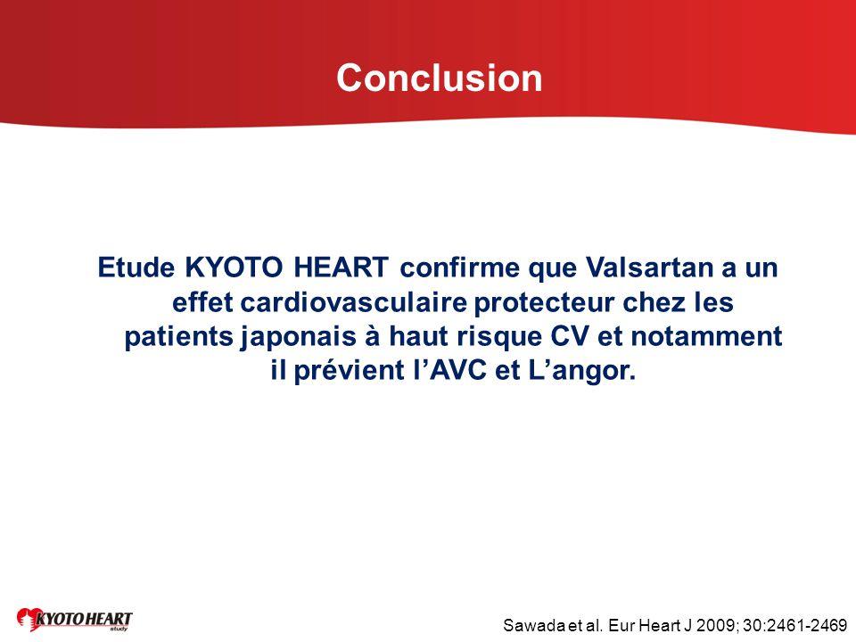 Conclusion Etude KYOTO HEART confirme que Valsartan a un effet cardiovasculaire protecteur chez les patients japonais à haut risque CV et notamment il