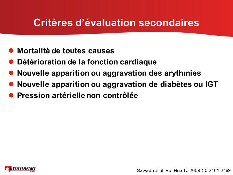 Critères d'évaluation secondaires Mortalité de toutes causes Détérioration de la fonction cardiaque Nouvelle apparition ou aggravation des arythmies N