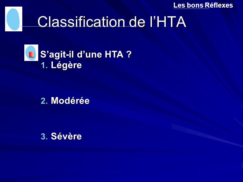 Classification de l'HTA 1. Légère 2. Modérée 3. Sévère Les bons Réflexes S'agit-il d'une HTA ? S'agit-il d'une HTA ?