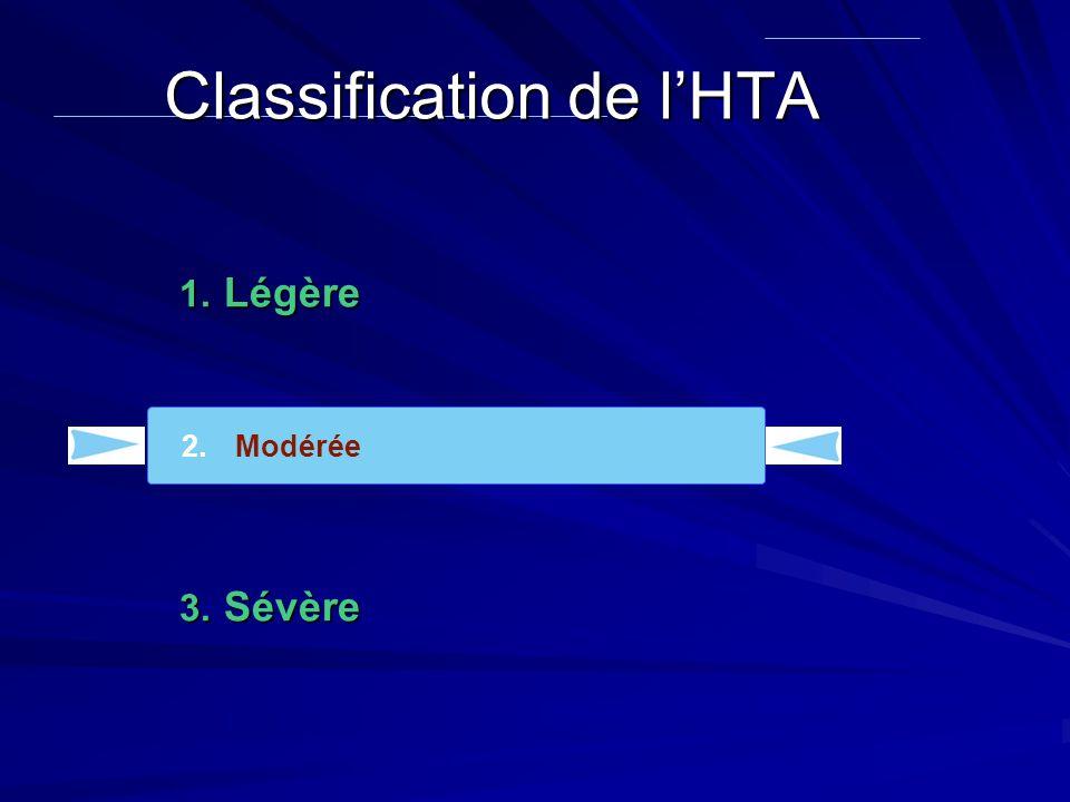 1. Légère 2. Modérée 3. Sévère 2.Modérée Classification de l'HTA