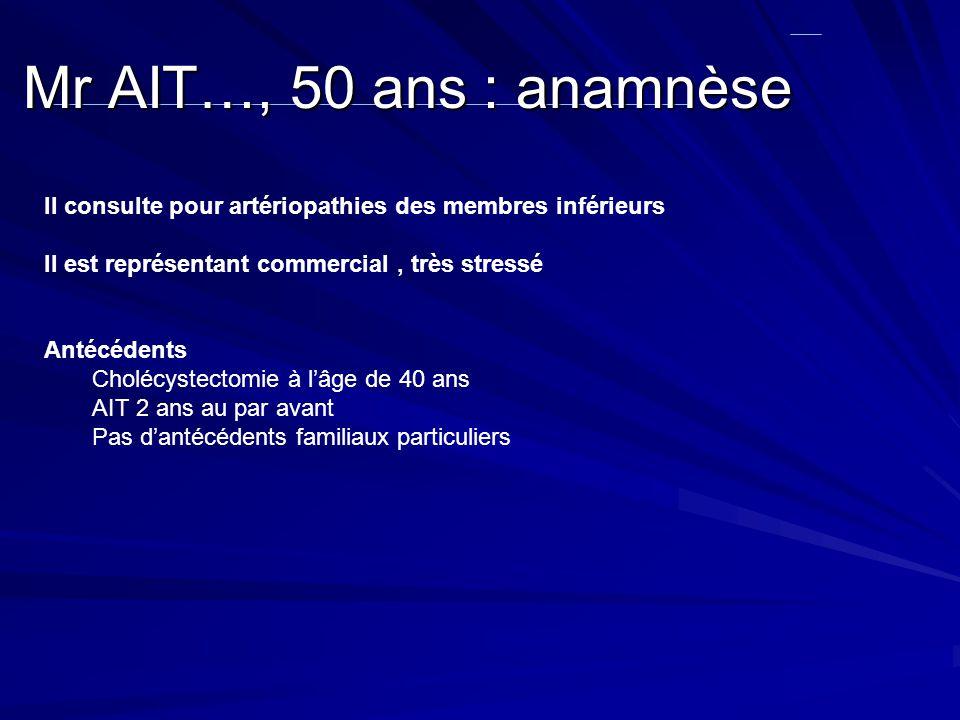Mr AIT…, 50 ans : anamnèse II consulte pour artériopathies des membres inférieurs II est représentant commercial, très stressé Antécédents Cholécystec