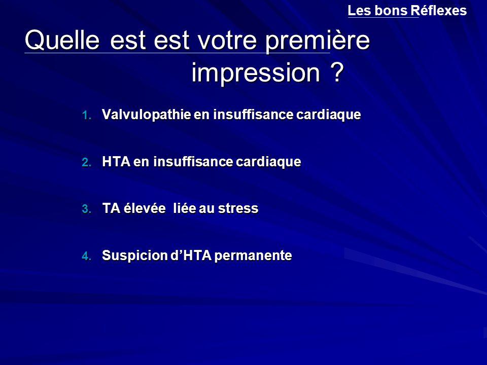 Quelle est est votre première impression ? 1. Valvulopathie en insuffisance cardiaque 2. HTA en insuffisance cardiaque 3. TA élevée liée au stress 4.