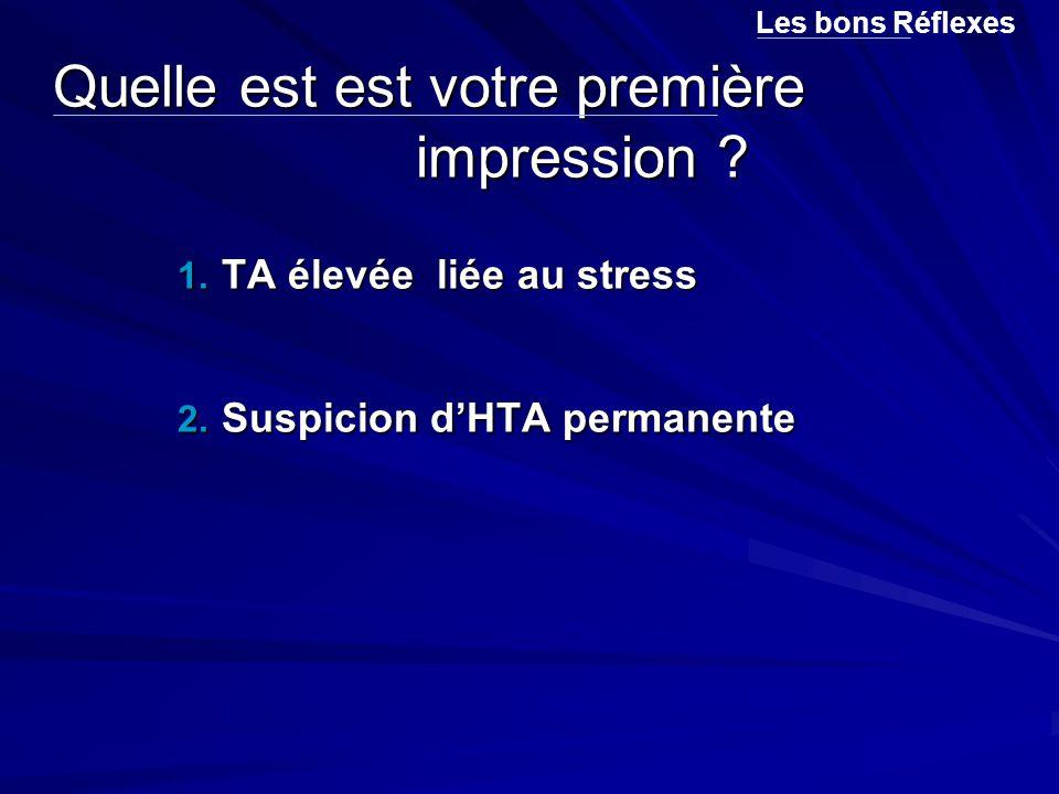 Quelle est est votre première impression ? 1. TA élevée liée au stress 2. Suspicion d'HTA permanente Les bons Réflexes