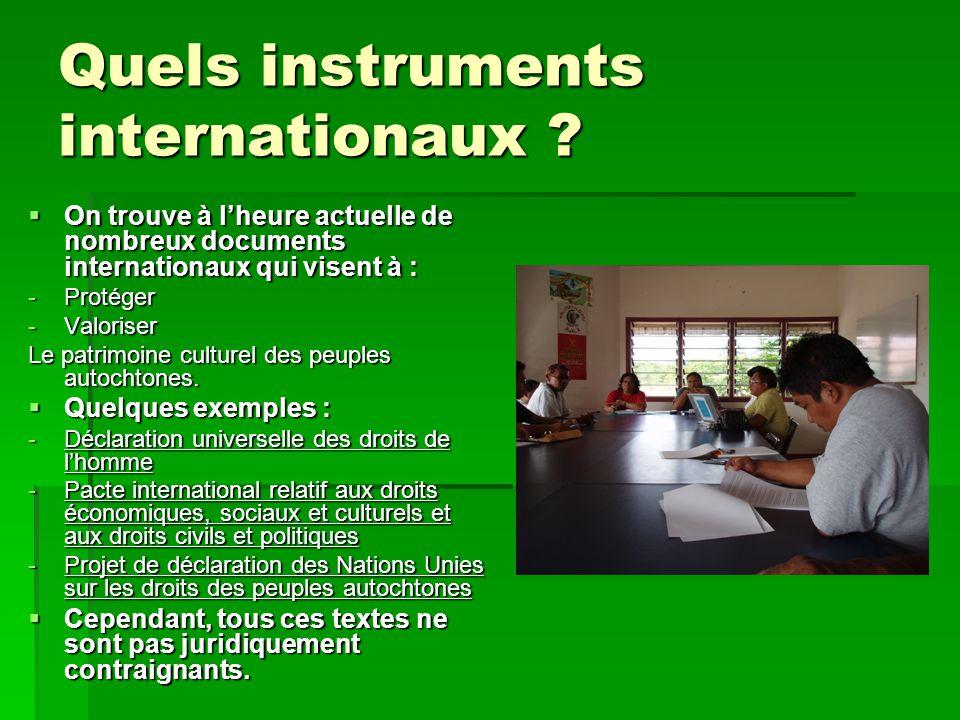 Quels instruments internationaux .