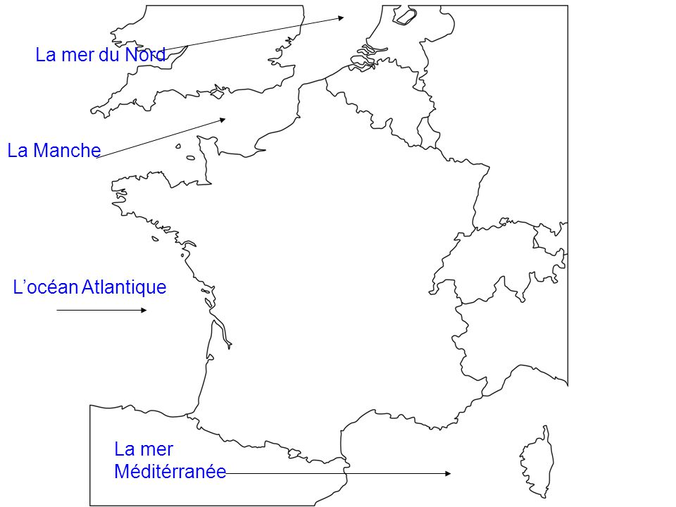La Manche La mer du Nord L'océan Atlantique La mer Méditérranée