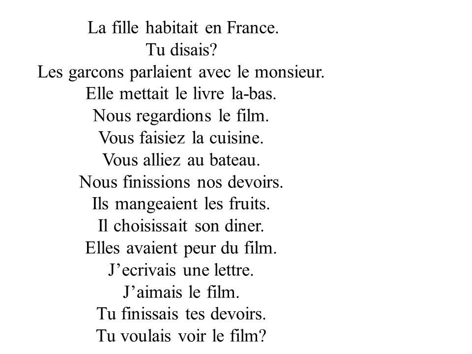La fille habitait en France.Tu disais. Les garcons parlaient avec le monsieur.