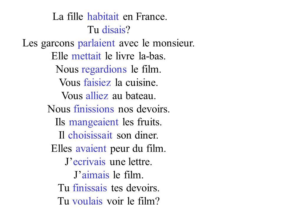 La fille habitait en France. Tu disais? Les garcons parlaient avec le monsieur. Elle mettait le livre la-bas. Nous regardions le film. Vous faisiez la