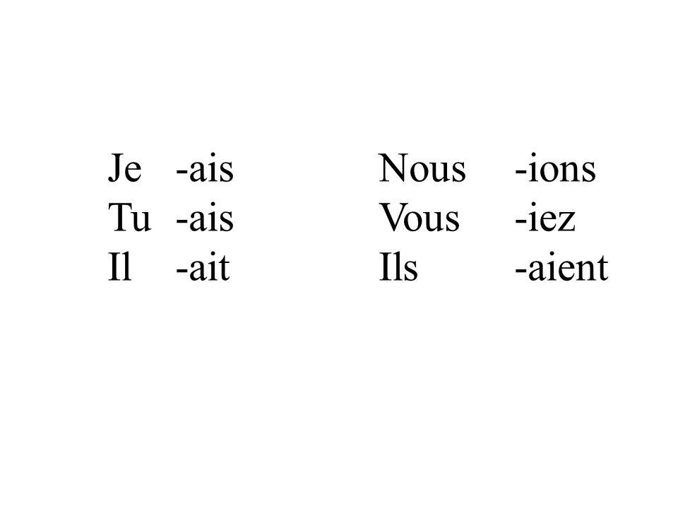Je-aisNous-ions Tu-aisVous-iez Il-aitIls-aient