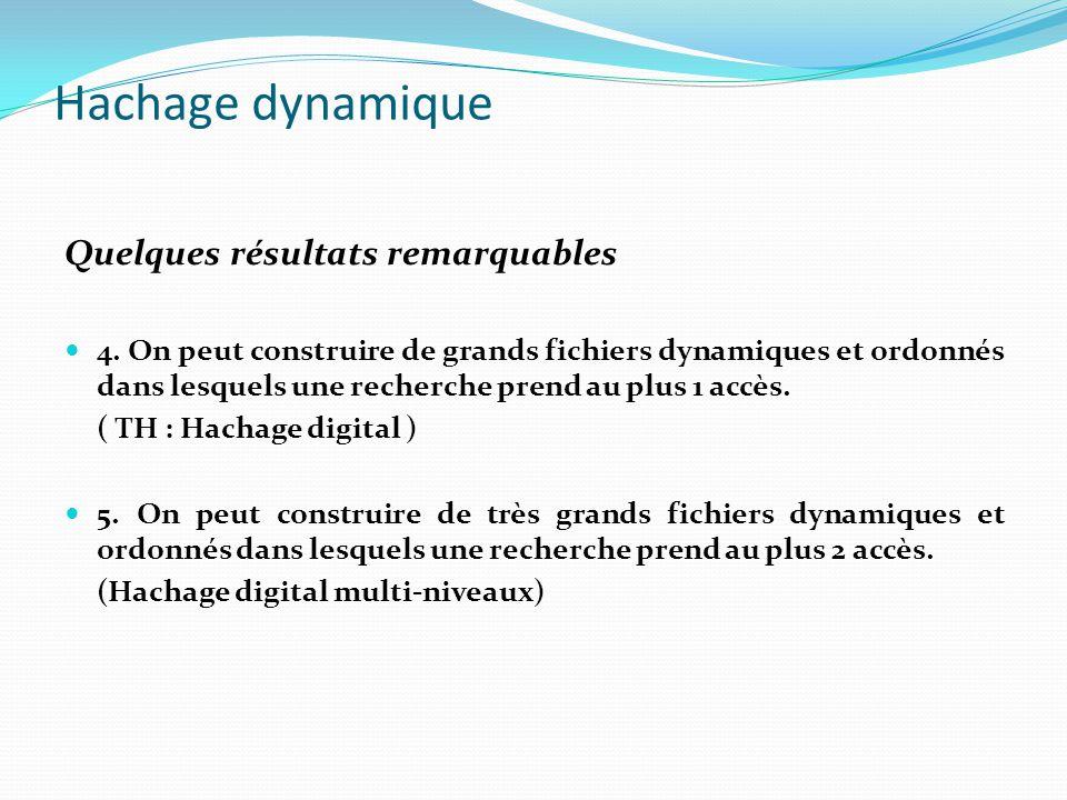 Hachage dynamique Quelques résultats remarquables 4. On peut construire de grands fichiers dynamiques et ordonnés dans lesquels une recherche prend au