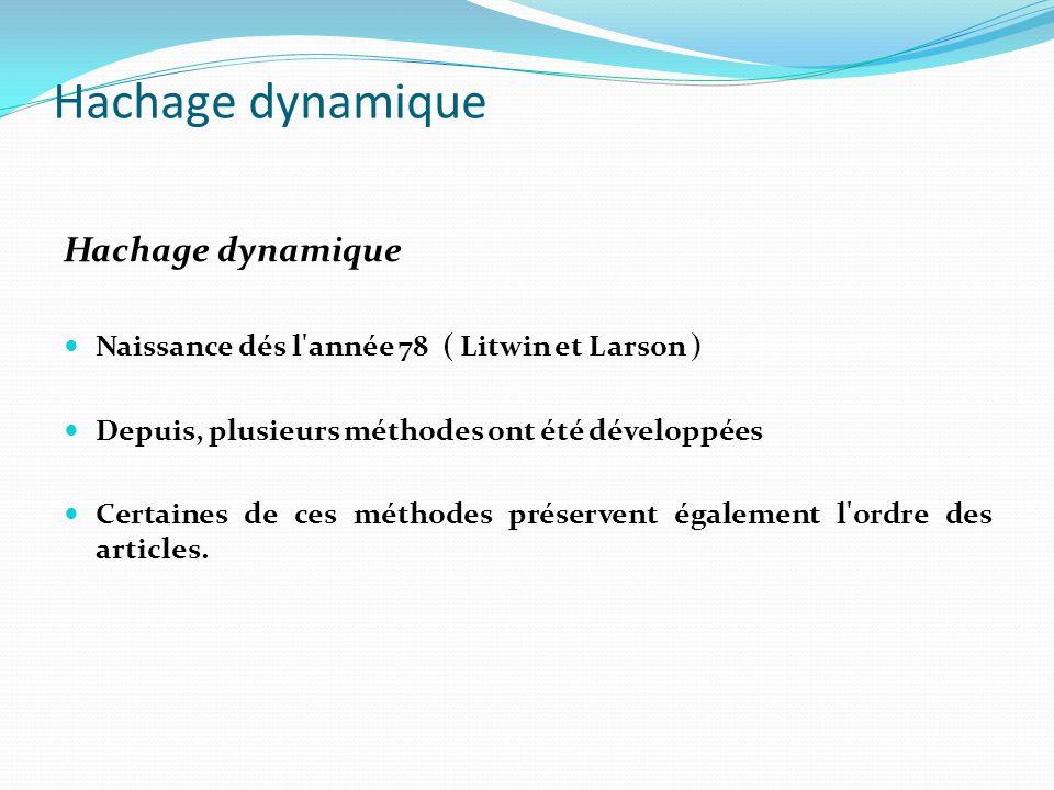 Hachage dynamique Naissance dés l'année 78 ( Litwin et Larson ) Depuis, plusieurs méthodes ont été développées Certaines de ces méthodes préservent ég