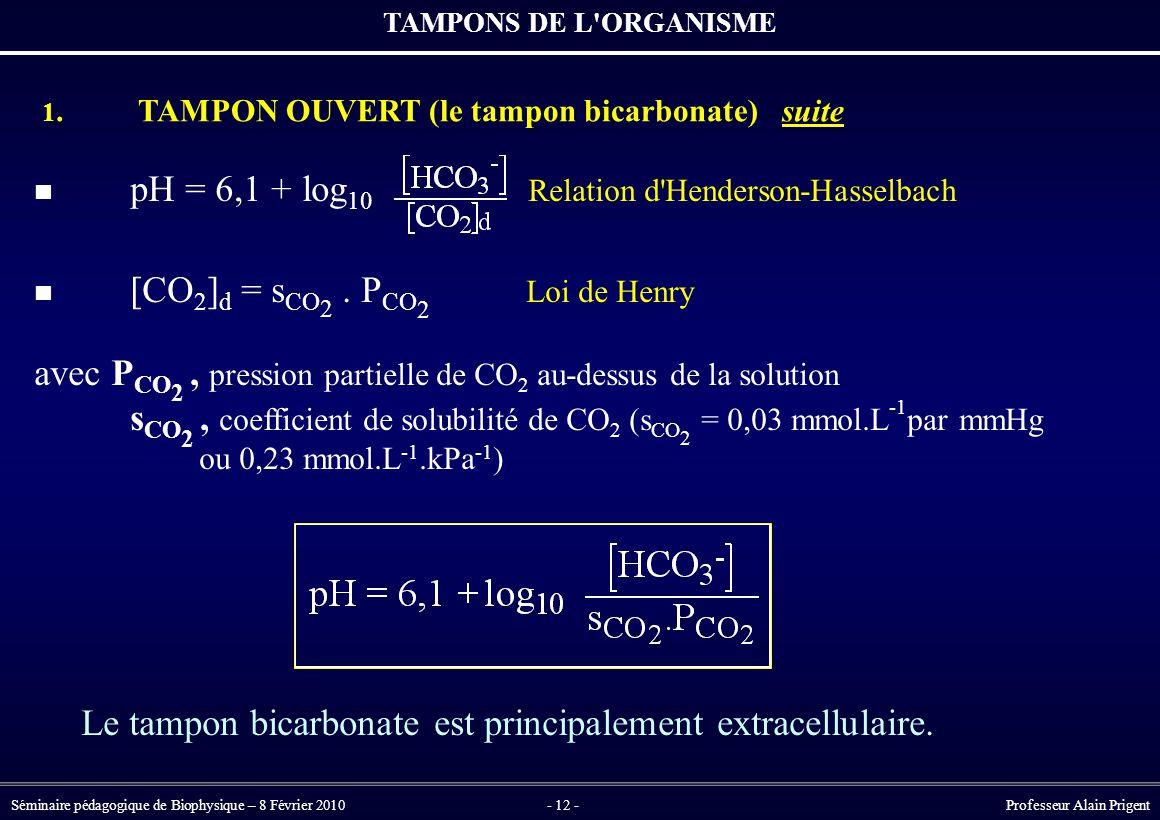 Séminaire pédagogique de Biophysique – 8 Février 2010- 12 - Professeur Alain Prigent pH = 6,1 + log 10 Relation d Henderson-Hasselbach [CO 2 ] d = s CO 2.