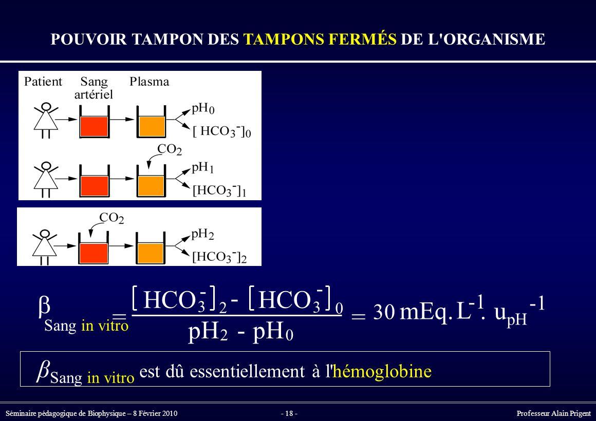 Séminaire pédagogique de Biophysique – 8 Février 2010- 18 - Professeur Alain Prigent β Sang in vitro est dû essentiellement à l hémoglobine POUVOIR TAMPON DES TAMPONS FERMÉS DE L ORGANISME -  Sang in vitro = HCO 3 - 2 - 3 0 pH 2 - 0 = 30 mEq.