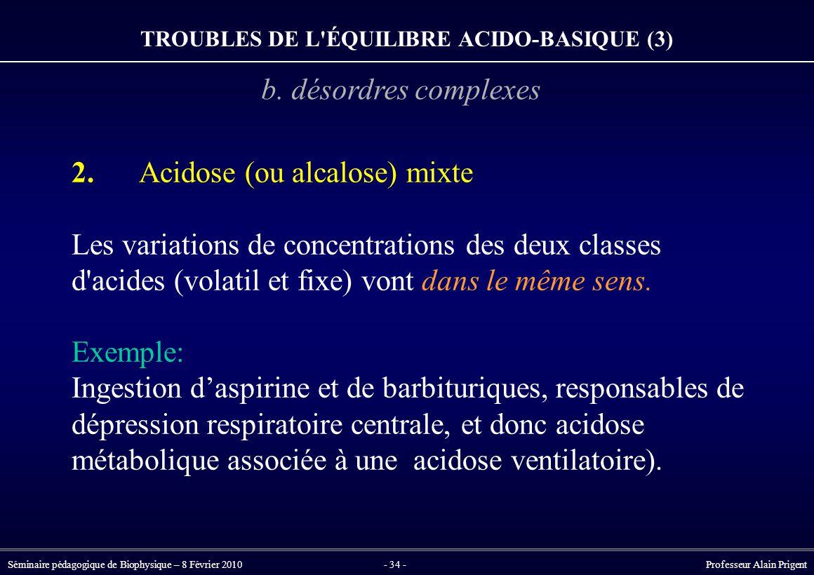 Séminaire pédagogique de Biophysique – 8 Février 2010- 34 - Professeur Alain Prigent 2.Acidose (ou alcalose) mixte Les variations de concentrations des deux classes d acides (volatil et fixe) vont dans le même sens.