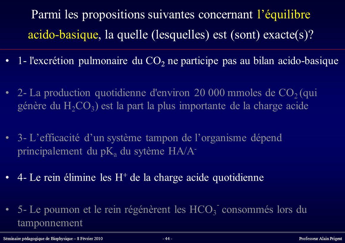 Séminaire pédagogique de Biophysique – 8 Février 2010- 44 - Professeur Alain Prigent Parmi les propositions suivantes concernant l'équilibre acido-basique, la quelle (lesquelles) est (sont) exacte(s).