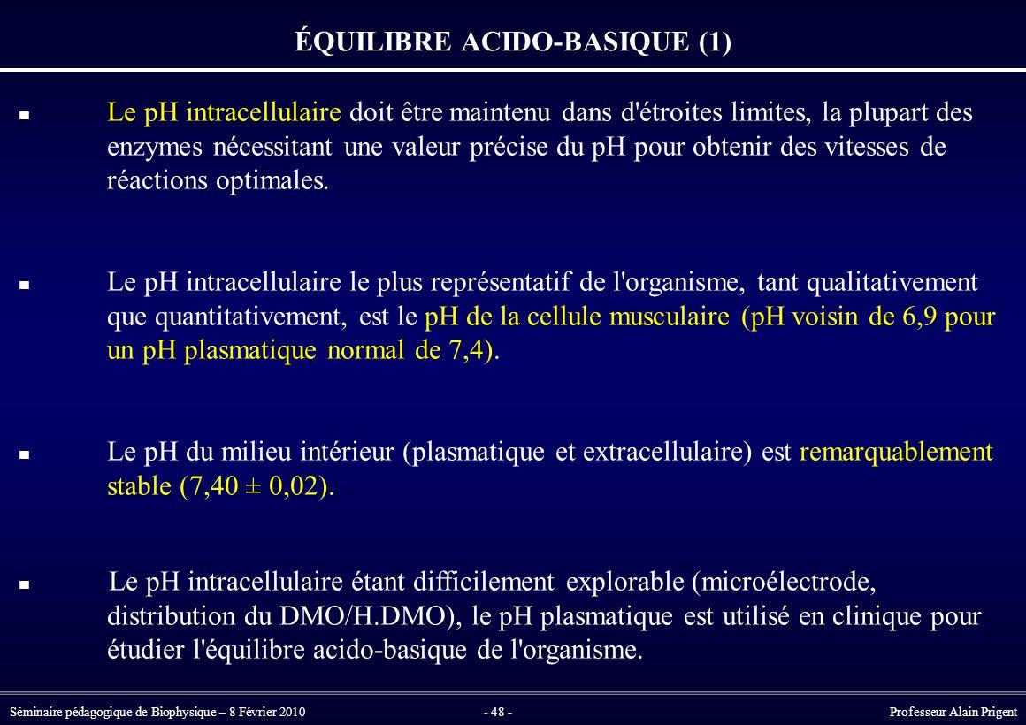 Séminaire pédagogique de Biophysique – 8 Février 2010- 48 - Professeur Alain Prigent ÉQUILIBRE ACIDO-BASIQUE (1) Le pH intracellulaire doit être maintenu dans d étroites limites, la plupart des enzymes nécessitant une valeur précise du pH pour obtenir des vitesses de réactions optimales.