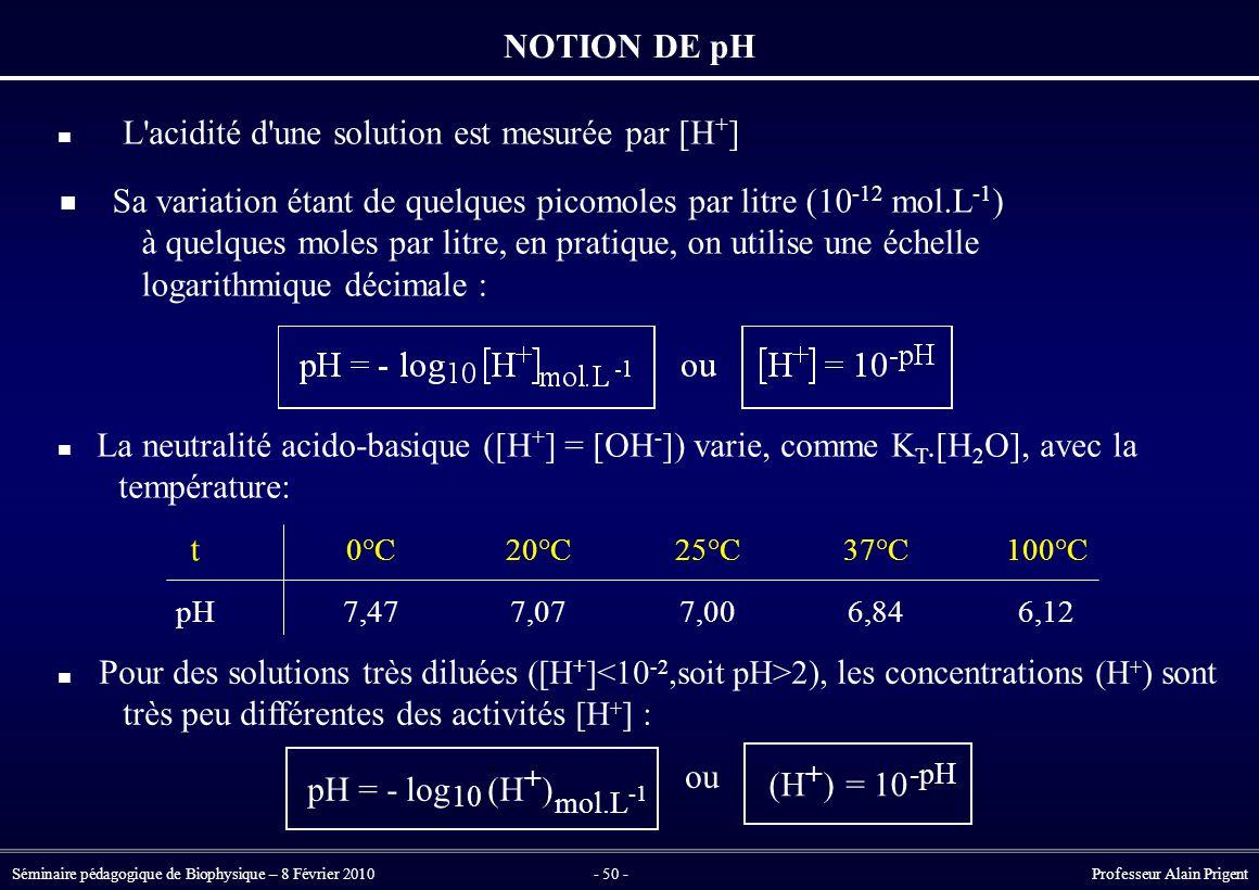 Séminaire pédagogique de Biophysique – 8 Février 2010- 50 - Professeur Alain Prigent NOTION DE pH L acidité d une solution est mesurée par [H + ] t pH 0°C 7,47 20°C 7,07 25°C 7,00 37°C 6,84 100°C 6,12 Pour des solutions très diluées ([H + ] 2), les concentrations (H + ) sont très peu différentes des activités [H + ] : pH = -log 10 (H ) + mol.L ou (H ) + =10 -pH La neutralité acido-basique ([H + ] = [OH - ]) varie, comme K T.[H 2 O], avec la température: Sa variation étant de quelques picomoles par litre (10 -12 mol.L -1 ) à quelques moles par litre, en pratique, on utilise une échelle logarithmique décimale :