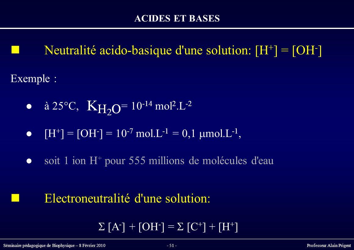 Séminaire pédagogique de Biophysique – 8 Février 2010- 51 - Professeur Alain Prigent ACIDES ET BASES Neutralité acido-basique d une solution: [H + ] = [OH - ] Exemple : à 25°C, = 10 -14 mol 2.L -2 [H + ] = [OH - ] = 10 -7 mol.L -1 = 0,1  mol.L -1, soit 1 ion H + pour 555 millions de molécules d eau Electroneutralité d une solution:  [A - ] + [OH - ] =  [C + ] + [H + ]