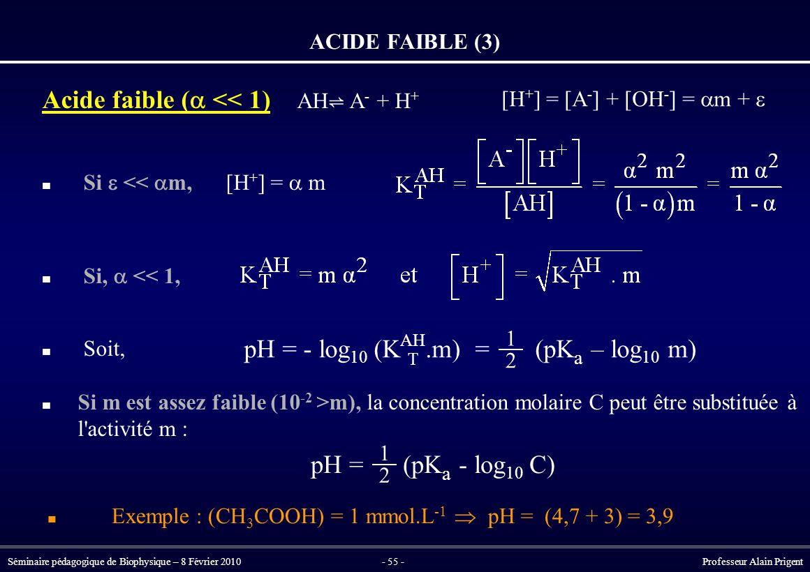 Séminaire pédagogique de Biophysique – 8 Février 2010- 55 - Professeur Alain Prigent ACIDE FAIBLE (3) Acide faible (  << 1) AH ⇌ A - + H + Si  <<  m, [H + ] =  m Si,  << 1, Soit, Si m est assez faible (10 -2 >m), la concentration molaire C peut être substituée à l activité m : [H + ] = [A - ] + [OH - ] =  m +  pH = (pK a - log 10 C) 1 2 pH = - log 10 (K AH.m) = (pK a – log 10 m) T 1 2 Exemple : (CH 3 COOH) = 1 mmol.L -1  pH = (4,7 + 3) = 3,9