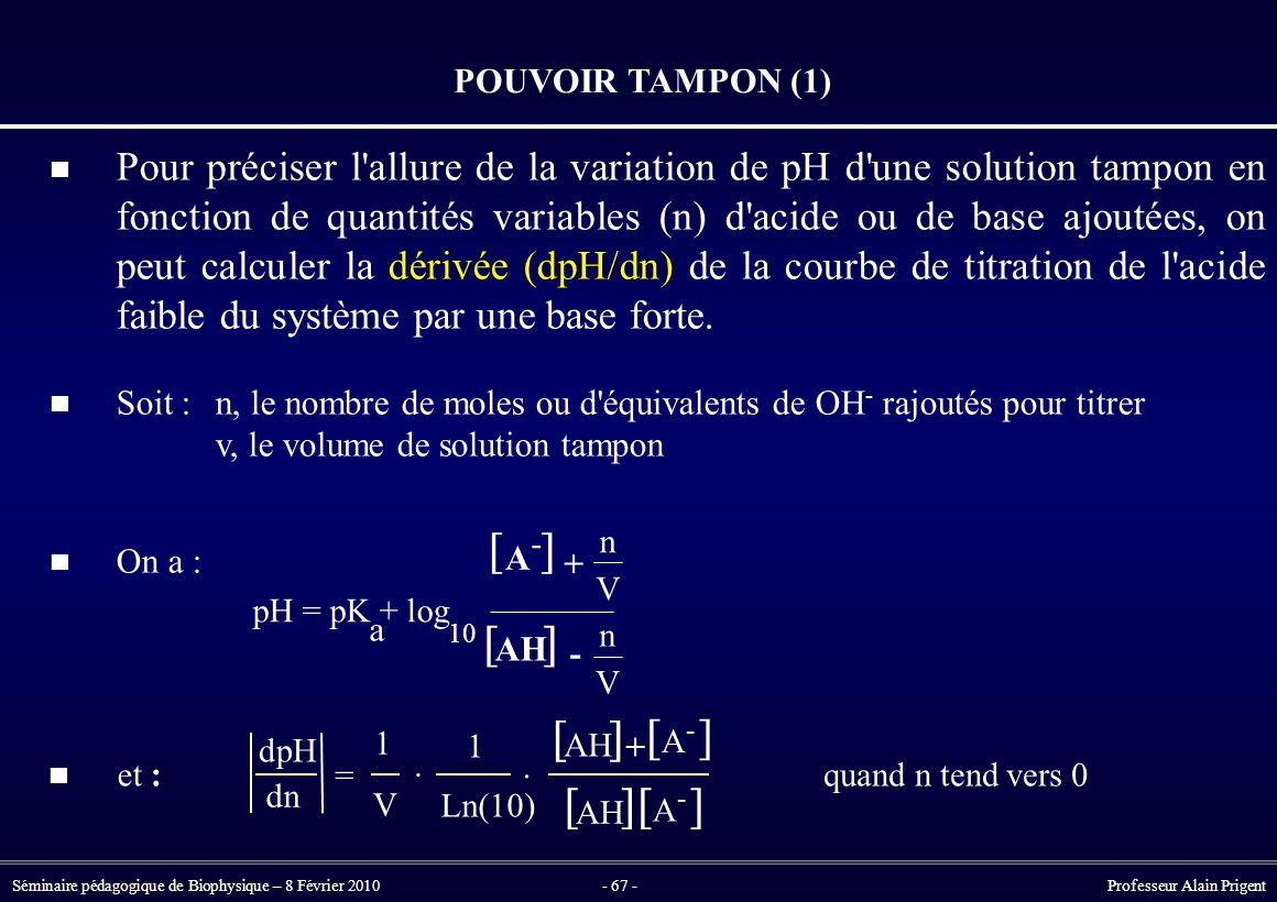 Séminaire pédagogique de Biophysique – 8 Février 2010- 67 - Professeur Alain Prigent POUVOIR TAMPON (1) Pour préciser l allure de la variation de pH d une solution tampon en fonction de quantités variables (n) d acide ou de base ajoutées, on peut calculer la dérivée (dpH/dn) de la courbe de titration de l acide faible du système par une base forte.
