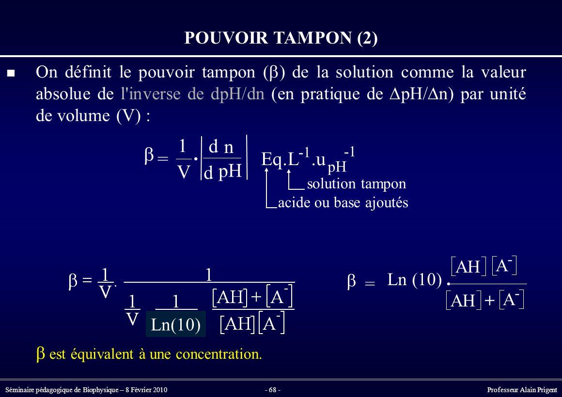 Séminaire pédagogique de Biophysique – 8 Février 2010- 68 - Professeur Alain Prigent POUVOIR TAMPON (2) On définit le pouvoir tampon (  ) de la solution comme la valeur absolue de l inverse de dpH/dn (en pratique de  pH/  n) par unité de volume (V) : solution tampon acide ou base ajoutés  est équivalent à une concentration.