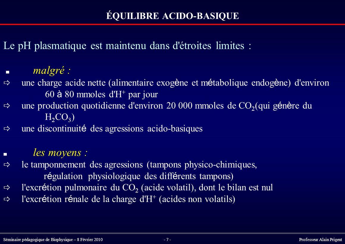 Séminaire pédagogique de Biophysique – 8 Février 2010- 7 - Professeur Alain Prigent ÉQUILIBRE ACIDO-BASIQUE Le pH plasmatique est maintenu dans d étroites limites : malgré :  une charge acide nette (alimentaire exog è ne et m é tabolique endog è ne) d environ 60 à 80 mmoles d H + par jour  une production quotidienne d environ 20 000 mmoles de CO 2 (qui g é n è re du H 2 CO 3 )  une discontinuit é des agressions acido-basiques les moyens :  le tamponnement des agressions (tampons physico-chimiques, r é gulation physiologique des diff é rents tampons)  l excr é tion pulmonaire du CO 2 (acide volatil), dont le bilan est nul  l excr é tion r é nale de la charge d H + (acides non volatils)