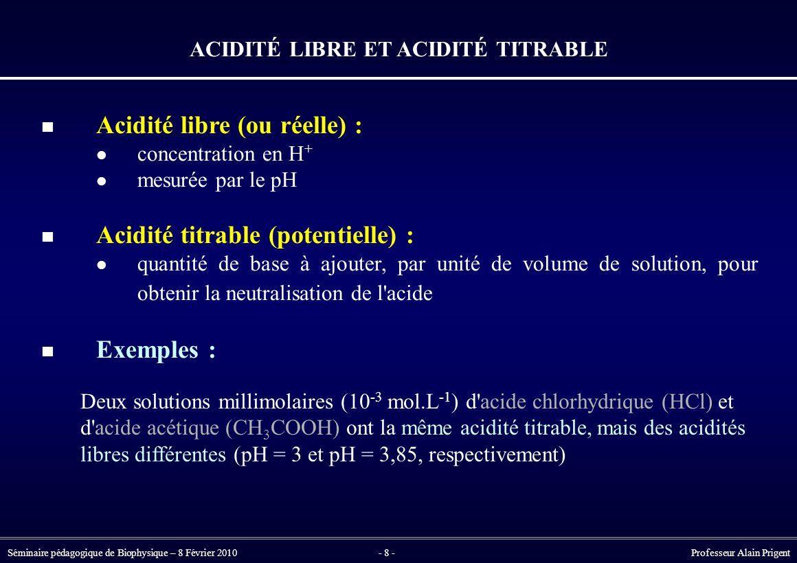 Séminaire pédagogique de Biophysique – 8 Février 2010- 8 - Professeur Alain Prigent ACIDITÉ LIBRE ET ACIDITÉ TITRABLE Acidité libre (ou réelle) : concentration en H + mesurée par le pH Acidité titrable (potentielle) : quantité de base à ajouter, par unité de volume de solution, pour obtenir la neutralisation de l acide Exemples : Deux solutions millimolaires (10 -3 mol.L -1 ) d acide chlorhydrique (HCl) et d acide acétique (CH 3 COOH) ont la même acidité titrable, mais des acidités libres différentes (pH = 3 et pH = 3,85, respectivement)