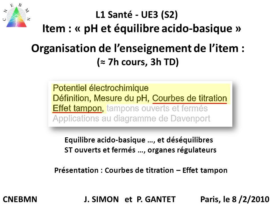 Organisation de l'enseignement de l'item : (≈ 7h cours, 3h TD) Equilibre acido-basique …, et déséquilibres ST ouverts et fermés …, organes régulateurs