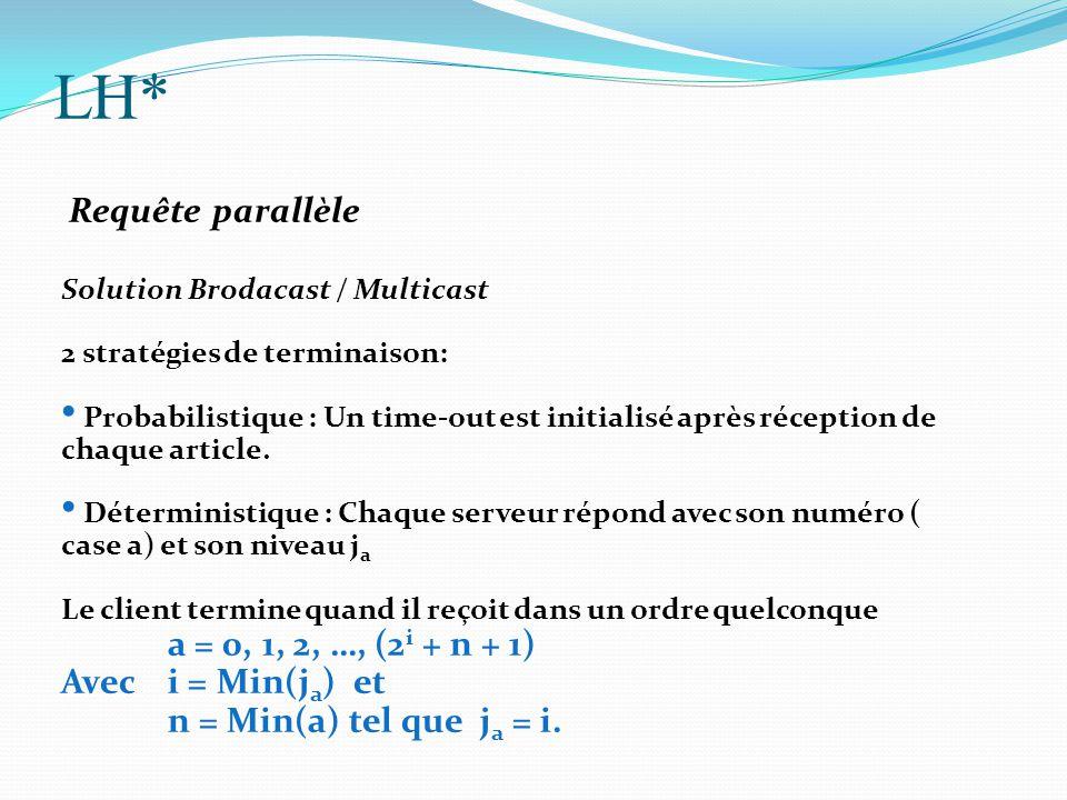 LH* Requête parallèle Solution Brodacast / Multicast 2 stratégies de terminaison: Probabilistique : Un time-out est initialisé après réception de chaq