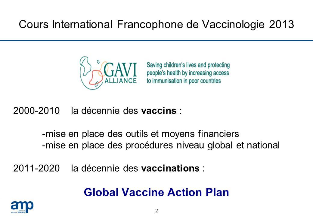 Cours International Francophone de Vaccinologie 2013 2000-2010 la décennie des vaccins : -mise en place des outils et moyens financiers -mise en place des procédures niveau global et national 2011-2020 la décennie des vaccinations : Global Vaccine Action Plan 2