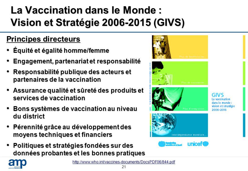 21 La Vaccination dans le Monde : Vision et Stratégie 2006-2015 (GIVS) Principes directeurs Équité et égalité homme/femme Équité et égalité homme/femm