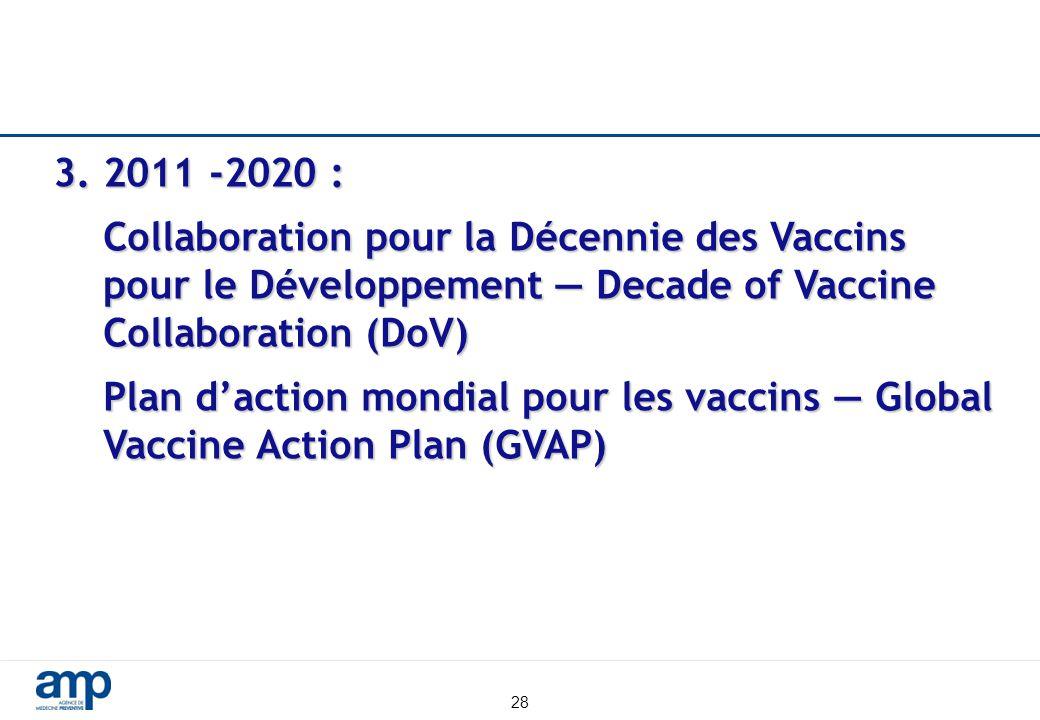 28 3. 2011 -2020 : Collaboration pour la Décennie des Vaccins pour le Développement — Decade of Vaccine Collaboration (DoV) Plan d'action mondial pour
