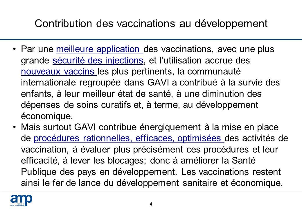 4 Contribution des vaccinations au développement Par une meilleure application des vaccinations, avec une plus grande sécurité des injections, et l'ut