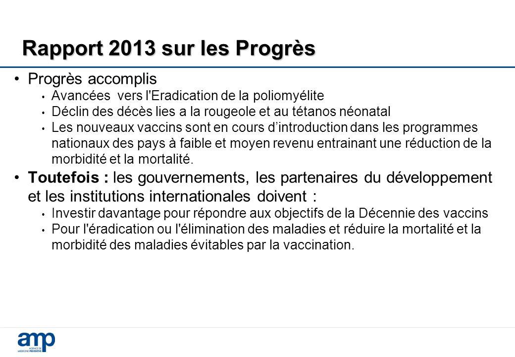 Rapport 2013 sur les Progrès Progrès accomplis Avancées vers l'Eradication de la poliomyélite Déclin des décès lies a la rougeole et au tétanos néonat