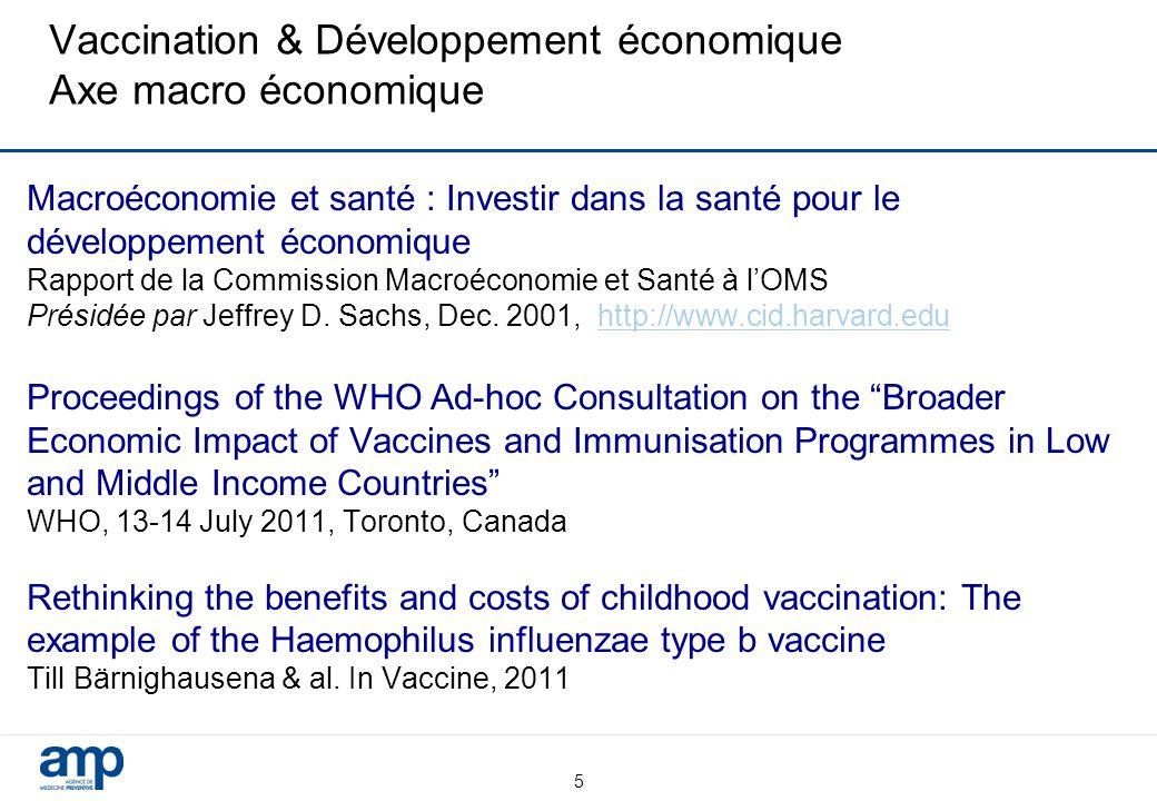 Vaccination & Développement économique Axe macro économique Macroéconomie et santé : Investir dans la santé pour le développement économique Rapport de la Commission Macroéconomie et Santé à l'OMS Présidée par Jeffrey D.