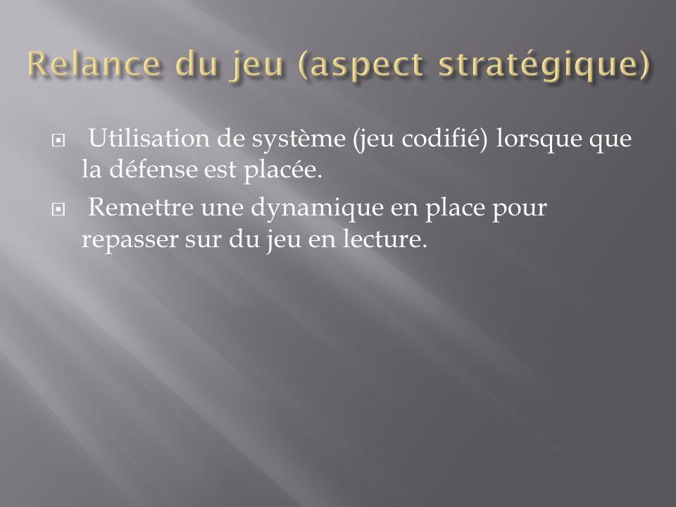  Utilisation de système (jeu codifié) lorsque que la défense est placée.  Remettre une dynamique en place pour repasser sur du jeu en lecture.