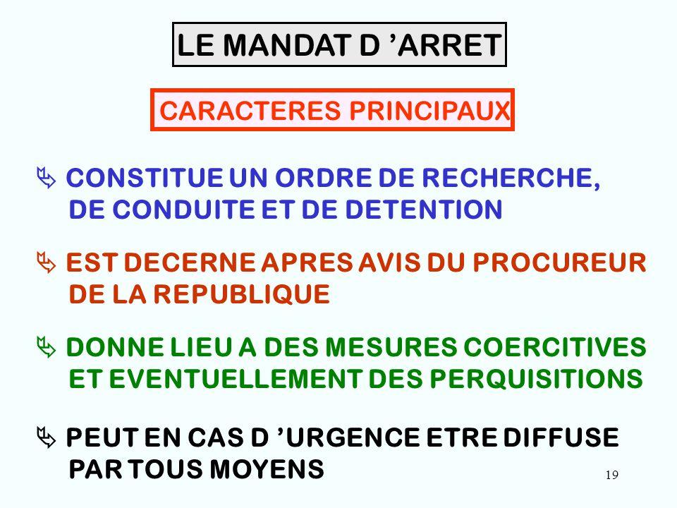 19 CARACTERES PRINCIPAUX  CONSTITUE UN ORDRE DE RECHERCHE, DE CONDUITE ET DE DETENTION  EST DECERNE APRES AVIS DU PROCUREUR DE LA REPUBLIQUE  DONNE LIEU A DES MESURES COERCITIVES ET EVENTUELLEMENT DES PERQUISITIONS LE MANDAT D 'ARRET  PEUT EN CAS D 'URGENCE ETRE DIFFUSE PAR TOUS MOYENS