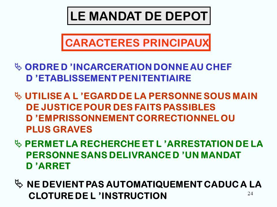 24 CARACTERES PRINCIPAUX  ORDRE D 'INCARCERATION DONNE AU CHEF D 'ETABLISSEMENT PENITENTIAIRE  UTILISE A L 'EGARD DE LA PERSONNE SOUS MAIN DE JUSTICE POUR DES FAITS PASSIBLES D 'EMPRISSONNEMENT CORRECTIONNEL OU PLUS GRAVES  PERMET LA RECHERCHE ET L 'ARRESTATION DE LA PERSONNE SANS DELIVRANCE D 'UN MANDAT D 'ARRET LE MANDAT DE DEPOT  NE DEVIENT PAS AUTOMATIQUEMENT CADUC A LA CLOTURE DE L 'INSTRUCTION