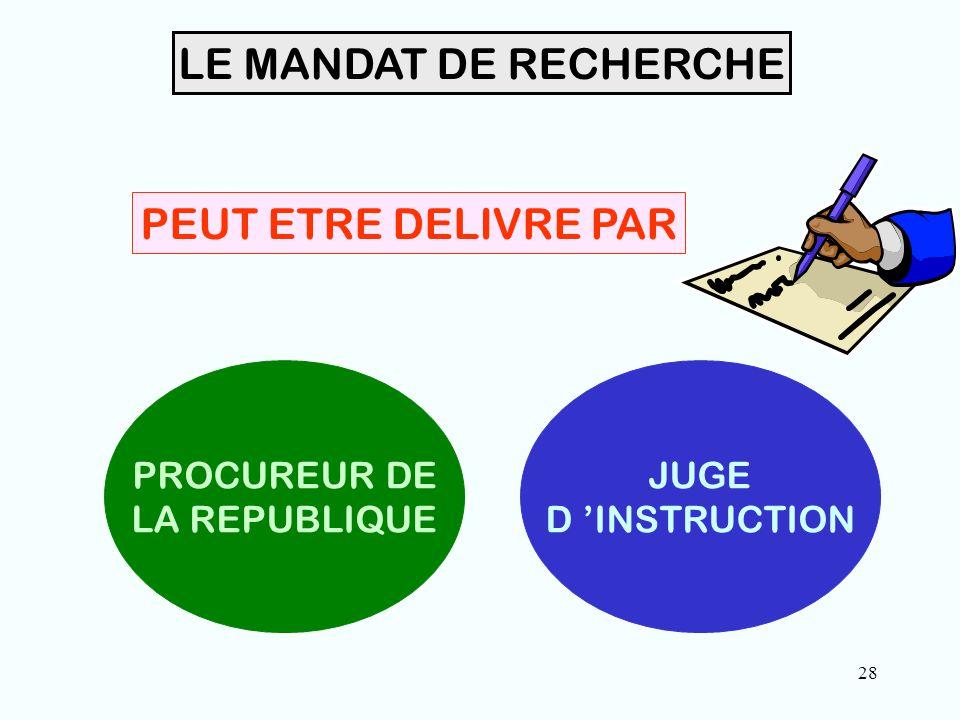 28 LE MANDAT DE RECHERCHE PEUT ETRE DELIVRE PAR PROCUREUR DE LA REPUBLIQUE JUGE D 'INSTRUCTION